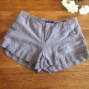 Banana Republic Martin Fit Linen Blend Gray Shorts